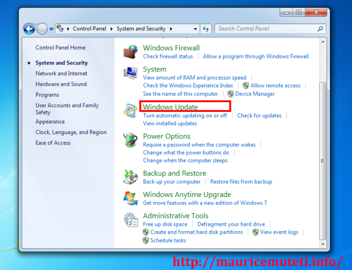 How to Completely Disable Automatic Windows Update (Windows 7) - Choose Windows Update.