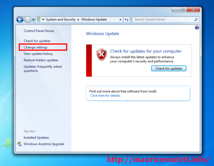 How to Completely Disable Automatic Windows Update (Windows 7) - Select Change Settings