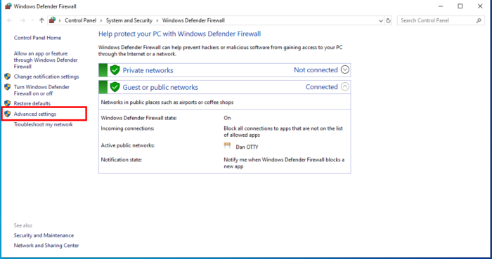 How To Allow And Block A Program From Accessing The Internet In Windows 10 Using Windows Firewall - Advanced Settings