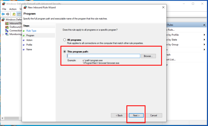 How To Allow And Block A Program From Accessing The Internet In Windows 10 Using Windows Firewall - Program Path
