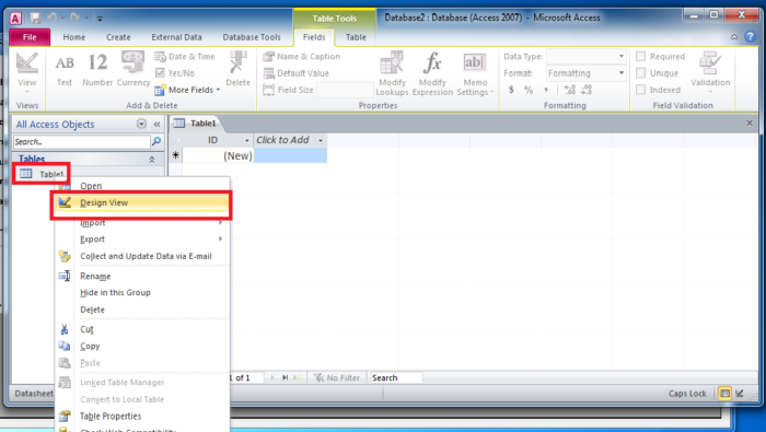 HOW TO CREATE MICROSOFT ACCESS DATABASE - DESIGN VIEW