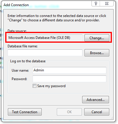 How To Add Ms Access Database To Visual Studio 2010 - Microsoft Access Database File OLE DB Data Source