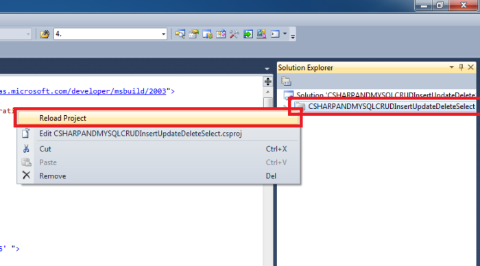 How To Change The Target Framework In Visual Studio 2010 by updating the dot csproj Xml File - Reload Project