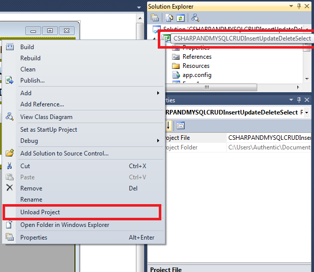 How To Change The Target Framework In Visual Studio 2010 by updating the dot csproj Xml File - Unloading project