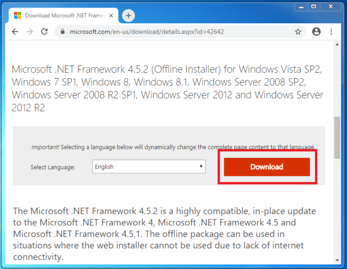 How To Download And Install Net Framework 4 5 2 - Official Microsoft Website
