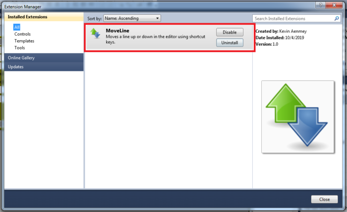 How to Move Selected Code Up or Down in Visual Studio - Installed