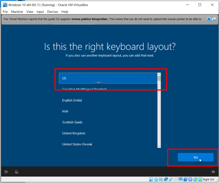 How To Install Windows 10 On Oracle VM VirtualBox - Keyboard Layout