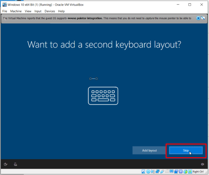 How To Install Windows 10 On Oracle VM VirtualBox - Second Keyboard Layout