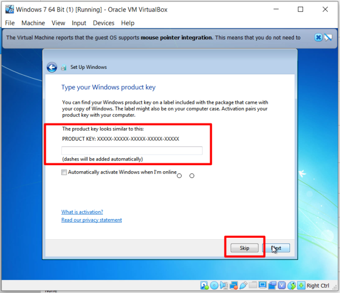 How to Install Windows 7 x64 Bit Ultimate On Oracle VM VirtualBox - Product key then skip
