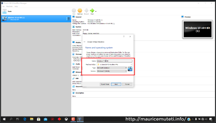 How to Install Windows 7 x64 Bit Ultimate On Oracle VM VirtualBox - Virtual Machine Name Location Type Version